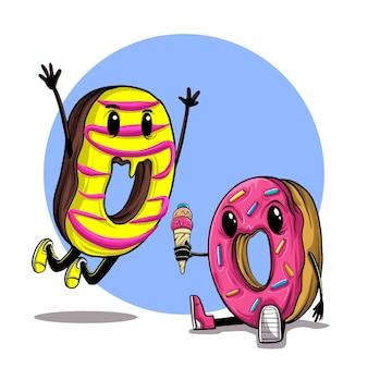 Illustration von zwei donuts, die eis teilen