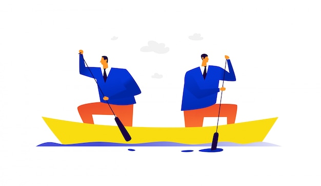 Illustration von zwei geschäftsleuten in einem boot.