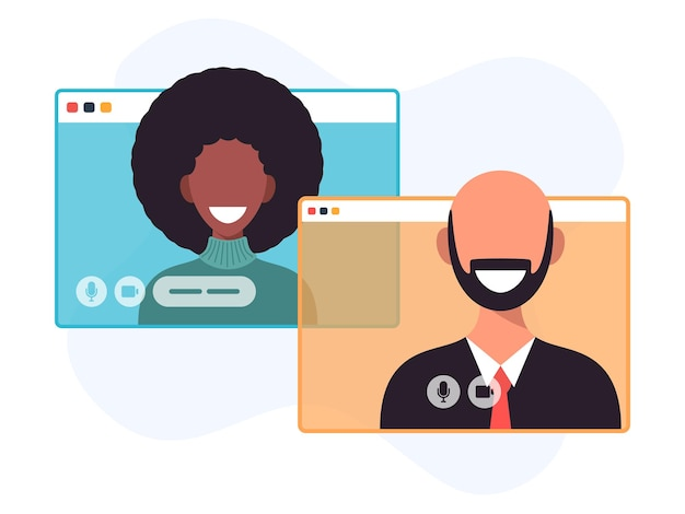 Illustration von zwei glücklichen leuten, die per videoanruf sprechen