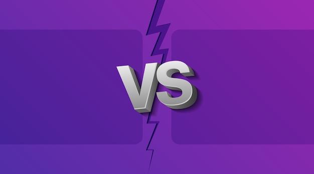 Illustration von zwei leeren rahmen und vs-buchstaben auf ultraviolettem hintergrund mit blitz.