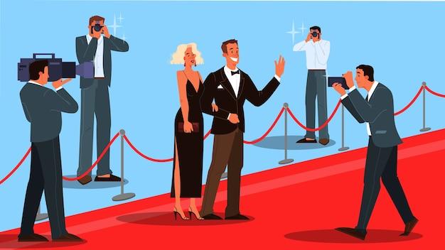 Illustration von zwei prominenten auf dem roten teppich, die dem fotografen und den paparazzi winken. famos und schöne schauspieler und schauspielerinnen gehen zur zeremonie.