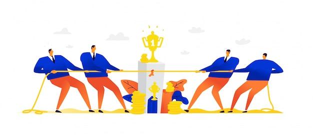 Illustration von zwei teams, die ein seil ziehen.