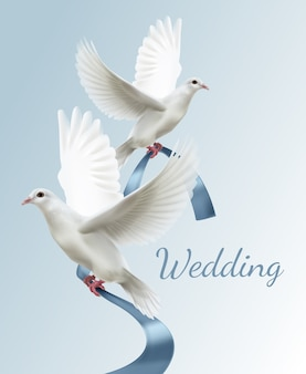 Illustration von zwei weißen tauben mit blauem band konzept der hochzeitseinladung