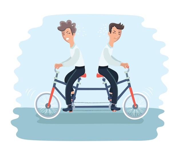 Illustration von zwei wütenden männern, die auf tandemfahrrad in verschiedene richtung reiten