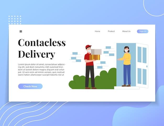 Illustration web-vorlage für kontaktlose zustellungs-benutzeroberfläche