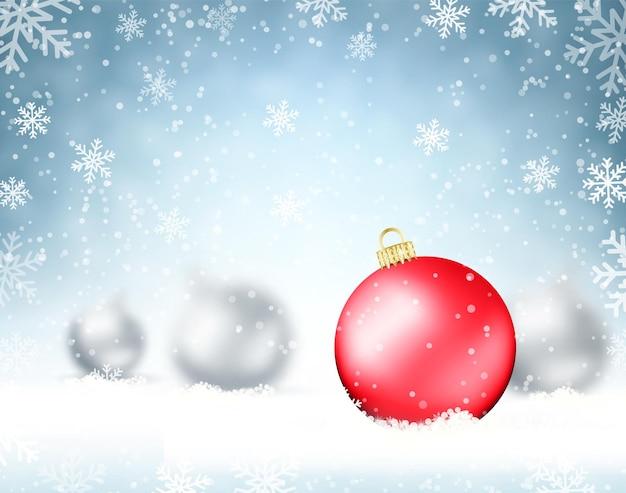 Illustration weihnachtshintergrund mit glaskugeln und schneeflocken. urlaubsdesign für neujahrsgrußkarten, poster und flyer. vektor-illustration