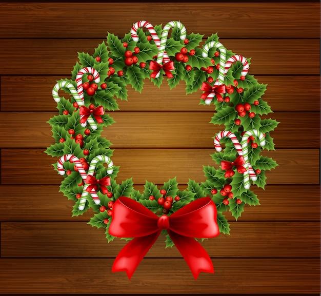 Illustration weihnachtsstechpalmenkranz mit roter schleife im holzhintergrund