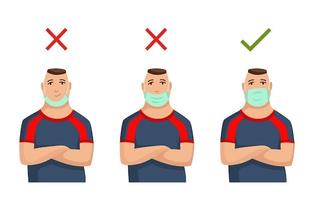 Illustration, wie man eine gesichtsmaske richtig trägt. falsche methode, eine maske zu tragen. tipp, wie sie eine virusinfektion verhindern. mann, der sich vor infektionskrankheiten schützt.