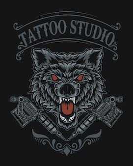 Illustration wolf tattoo studio logo