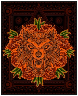 Illustration wolfskopf mandala mit rosenblüte
