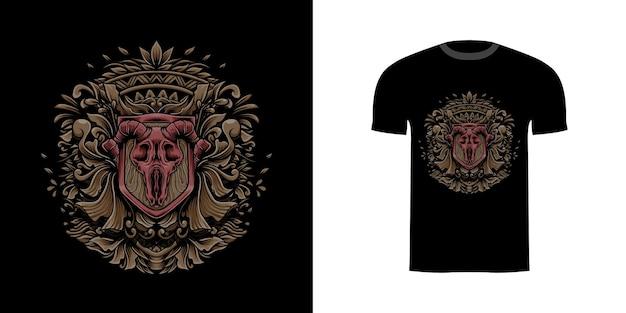 Illustration ziegenschädel mit gravur onament für t-shirt design