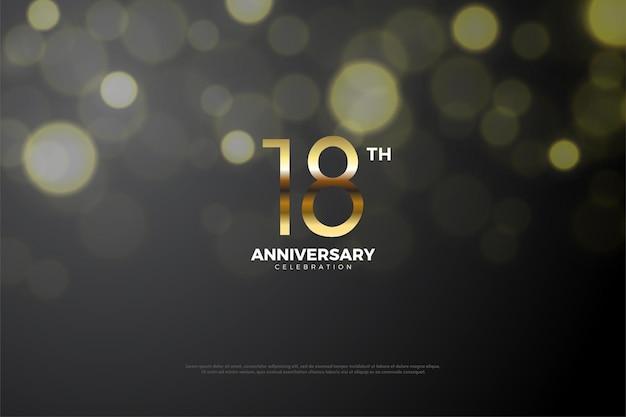 Illustration zum 18. jubiläum mit goldenen zahlen und bokeh-effekt