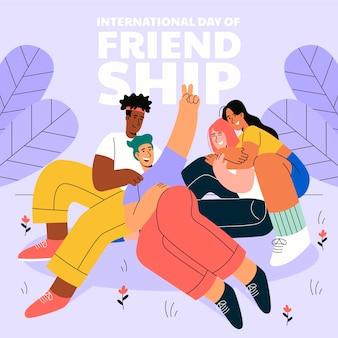 Illustration zum internationalen freundschaftstag