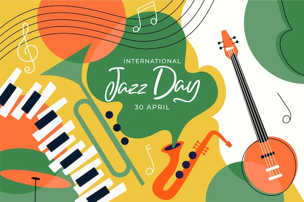 Illustration zum internationalen jazz-tag mit musikinstrumenten