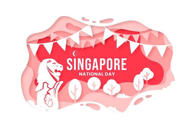 Illustration zum nationalfeiertag im papierstil in singapur