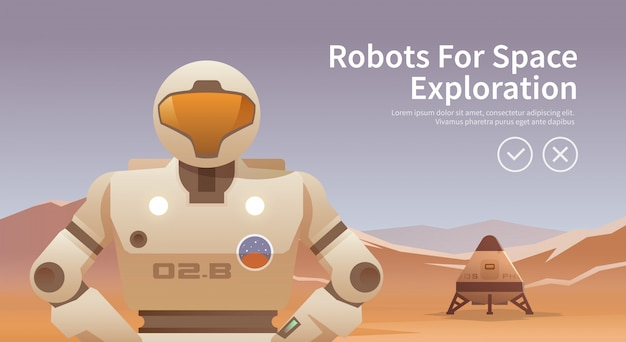 Illustration zum thema: astronomie, raumfahrt, weltraumforschung, kolonialisierung, weltraumtechnologie. das web-banner. roboter für den weltraum.