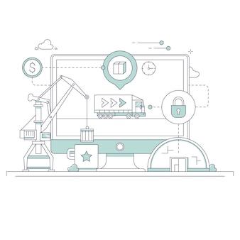 Illustration zum thema bau und logistik
