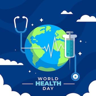 Illustration zum weltgesundheitstag mit planet und stethoskop