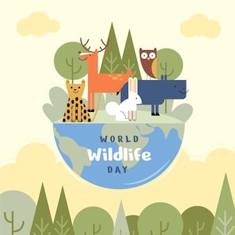 Illustration zum welttag der wildtiere mit planeten und tieren