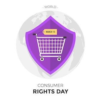 Illustration zum weltverbraucherrechtstag mit einkaufswagen