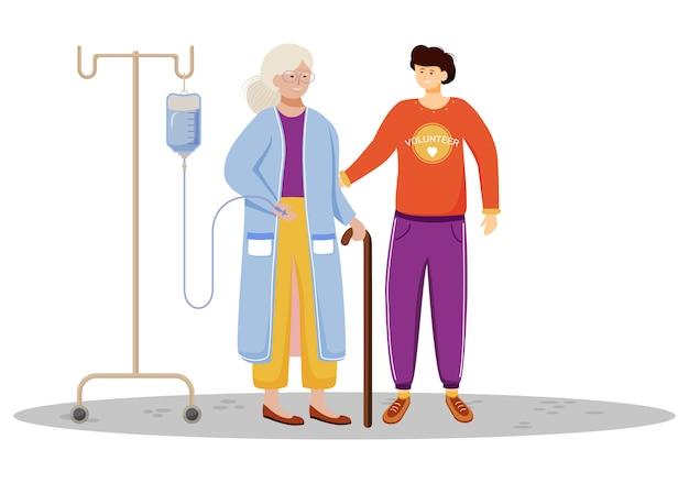 Illustration zum wohlbefinden älterer menschen. glücklicher freiwilliger und alte fraukarikaturfiguren auf weißem hintergrund. kleiner sohn, der sich um alte mutter kümmert. familienunterstützung, arbeitskonzept für medizinische hilfe