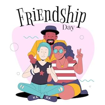 Illustration zur feier des internationalen freundschaftstages