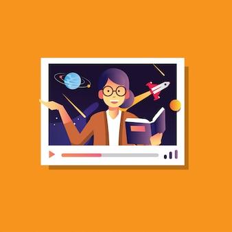 Illustration zurück zur schule der frau erklären astronomie galaxie, online-konferenz, online-kurs ausbildung