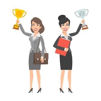 Illustration, zwei geschäftsfrauen, die tasse halten und lächeln, format eps 10