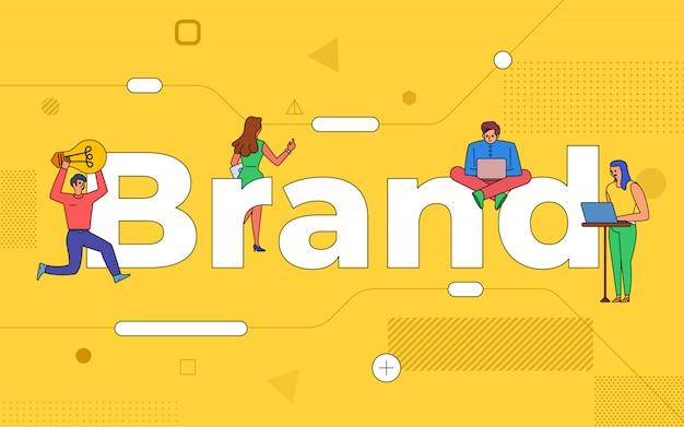 Illustrationen business teamwork schaffen marke zusammenarbeiten. buildind text concept branding. veranschaulichen.