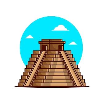 Illustrationen der alten maya-pyramiden Premium Vektoren