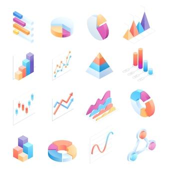 Illustrationen der isometrischen elemente der infografiken