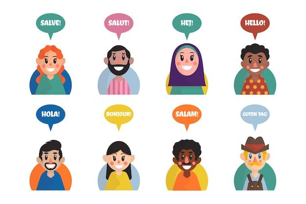 Illustrationen der jungen leute, die in der unterschiedlichen sprachgruppe sprechen