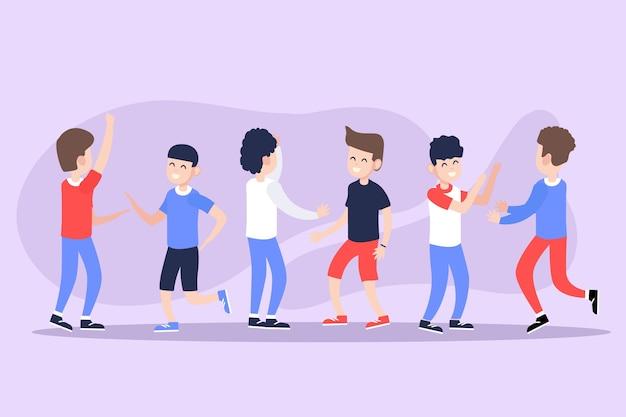 Illustrationen der jungen leute, die satz des hochs fünf geben