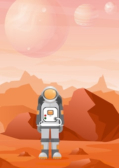 Illustrationen des astronauten auf dem marsplaneten mit der roten gebirgslandschaft. astronomie, weltraumforschung, kolonialisierung im flachen stil.
