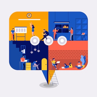 Illustrationen des flachen entwurfskonzeptarbeitsraum-gebäudeikonenkommentars