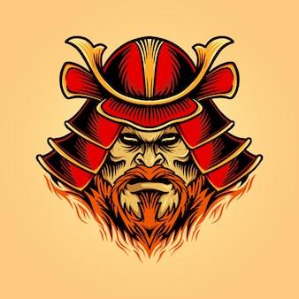 Illustrationen ein shamun-kriegerhelm mit samurai-maske