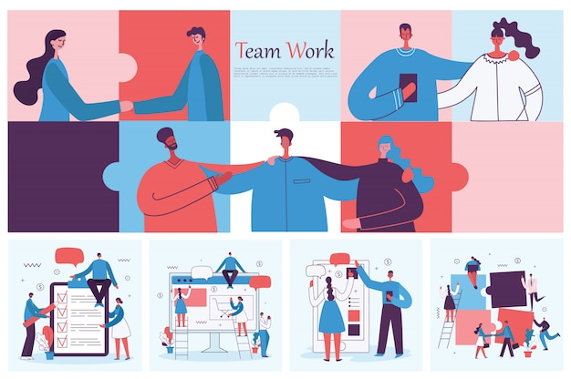 Illustrationen einer jungen erwachsenen gruppe von geschäftsleuten, die sich treffen und im co-arbeitszentrum arbeiten. teamwork zusammengehörigkeit zusammenarbeit