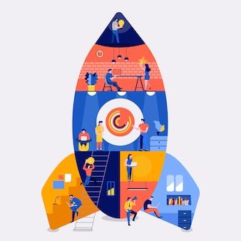 Illustrationen flaches designkonzept arbeitsraum gebäude rakete likestartup unternehmen