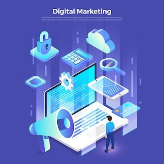Illustrationen flaches designkonzept digitales marketing