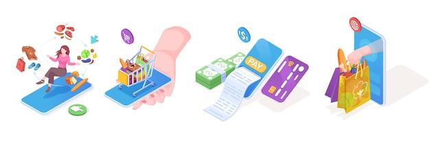 Illustrationen für die online-essenslieferung