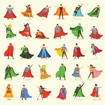 Illustrationen im flachen design von weiblichen und männlichen superhelden im lustigen comic-kostüm