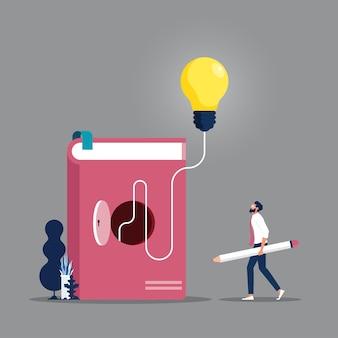Illustrationen konzept des buches ist wissen und große idee für menschen konzept der bildung
