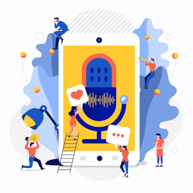Illustrationen konzept design podcast-kanal. teamwork machen podcasting.studio mikrofon tisch broadcast menschen. podcast-radio.