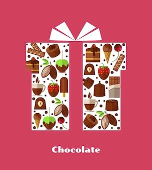 Illustrationen mit süßigkeiten, schokolade und anderen süßen speisen.