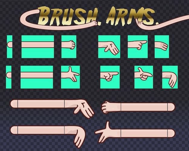 Illustrationen packung von comic-händen in verschiedenen gesten. satz menschlicher hände mit verschiedenen gesten sammlung für design, animation,