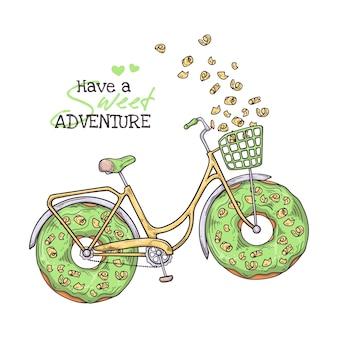 Illustrationen skizzieren. fahrrad mit donuts anstelle von rädern.