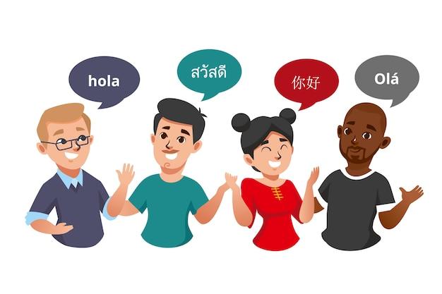 Illustrationen von den jungen leuten, die in den verschiedenen sprachen sprechen, packen