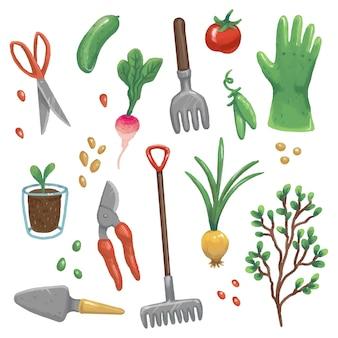 Illustrationen von gartengeräten, gemüse und pflanzen. handschuhe, rechen, schere, gartenschere, schaufel, zwiebel, samen, erbsen, schössling, gurke, rettich, topfsprossen, tomate
