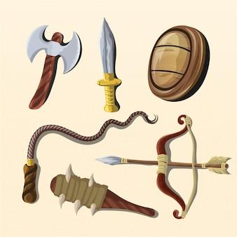 Illustrationen von sitzwaffenwerkzeugen