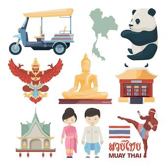 Illustrationen von traditionellen wahrzeichen von thailand mit muay thai text.